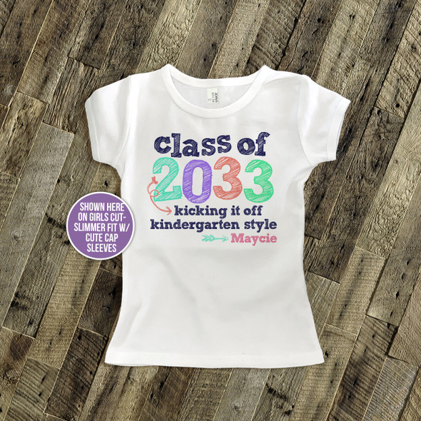 Kindergarten class of (any year) colorful girls personalized Tshirt