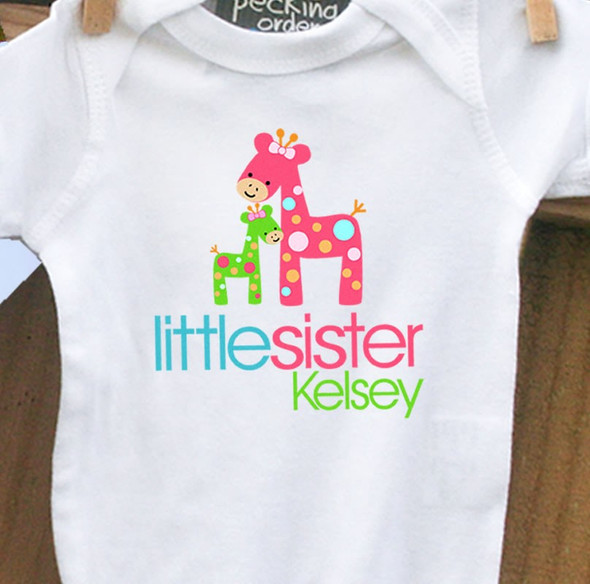 Infant bodysuit little sister funky giraffe personalized bodysuit or Tshirt