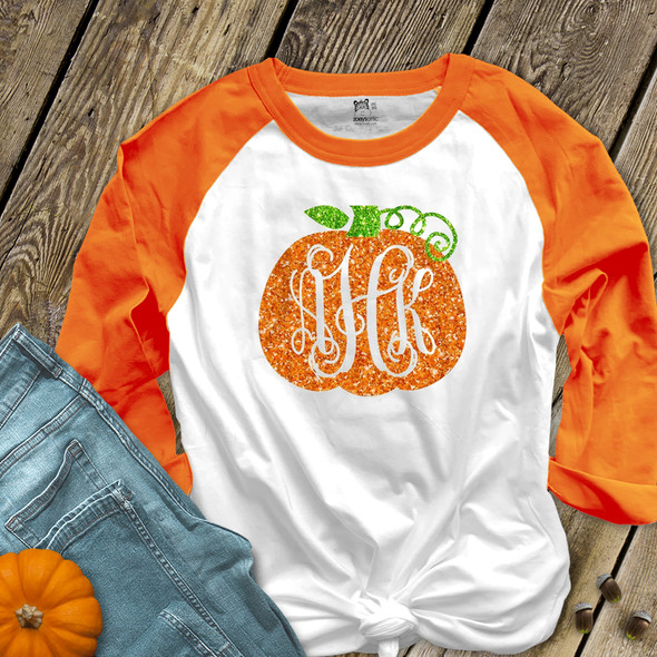 Fall pumpkin vine monogram sparkly glitter ADULT raglan shirt