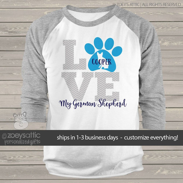 LOVE dogs german shepherd raglan sleeve shirt