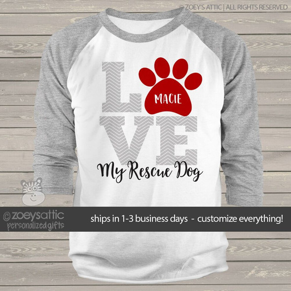 LOVE dogs rescue dog raglan sleeve shirt
