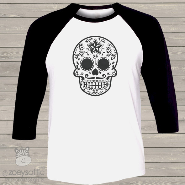Halloween sugar skull unisex ADULT raglan shirt