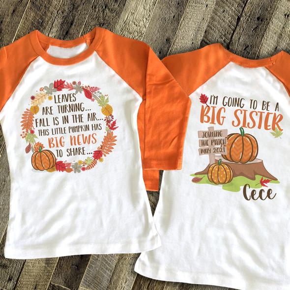 Big sister to be fall big news pregnancy announcement raglan Tshirt