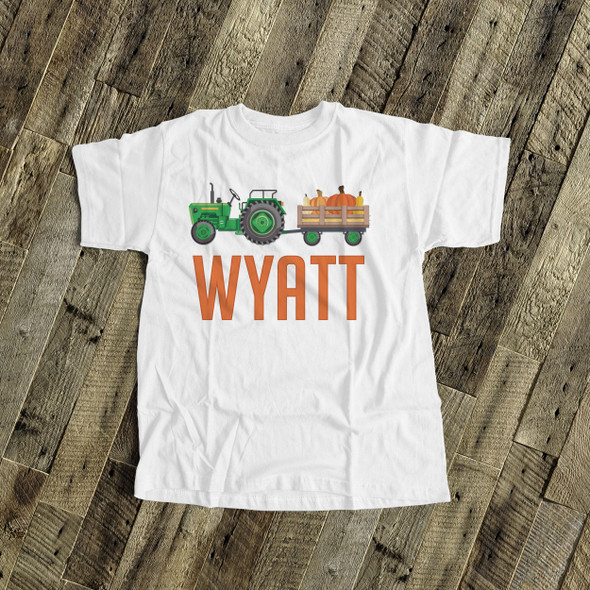 Fall green or red tractor personalized Tshirt