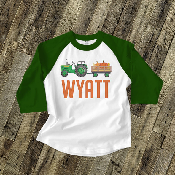 Fall green or red tractor personalized raglan shirt