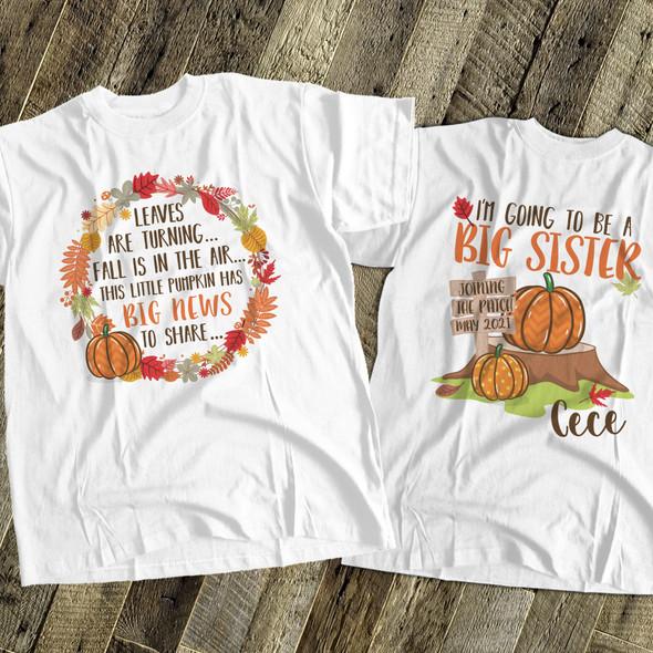 Big sister to be fall big news pregnancy announcement Tshirt