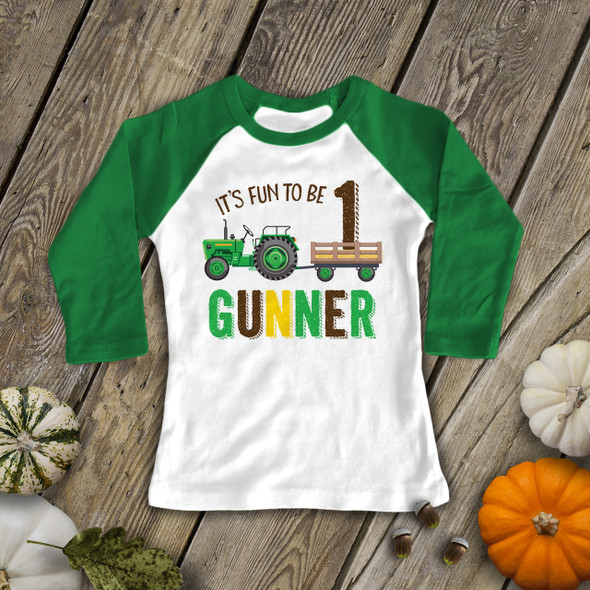 First birthday green tractor personalized raglan shirt