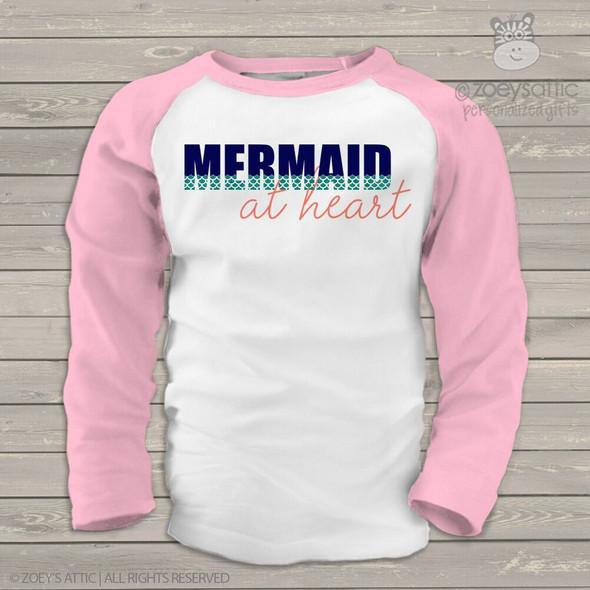 Mermaid at heart glitter GIRLS raglan shirt