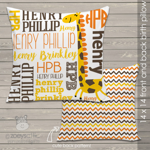 Giraffe name and monogram personalized  birth pillow