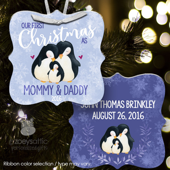 First Christmas mommy daddy penguin ornament