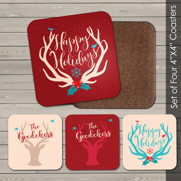 Happy Holidays antler coasters