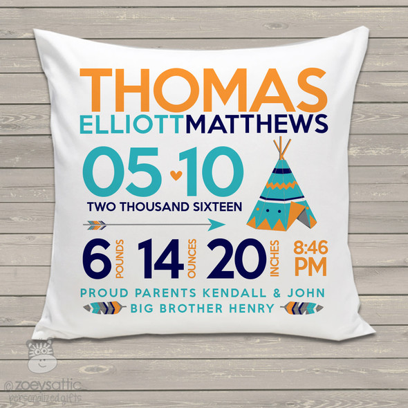Teepee birth announcement pillow