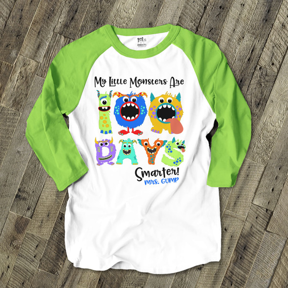 Teacher 100 days smarter monsters raglan shirt