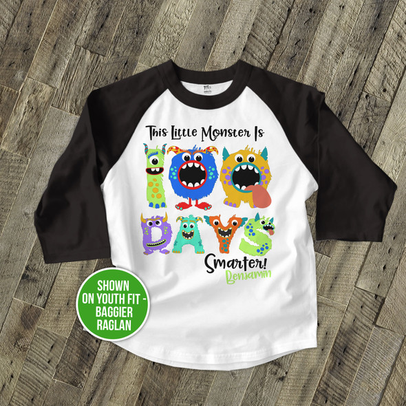 Student 100 days smarter monster raglan shirt