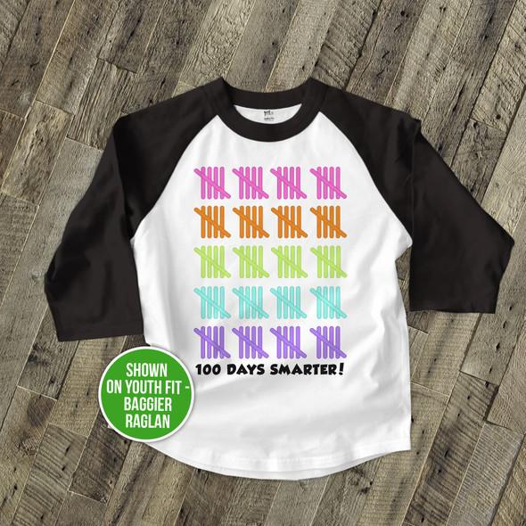 Student 100 days smarter tally marks raglan shirt