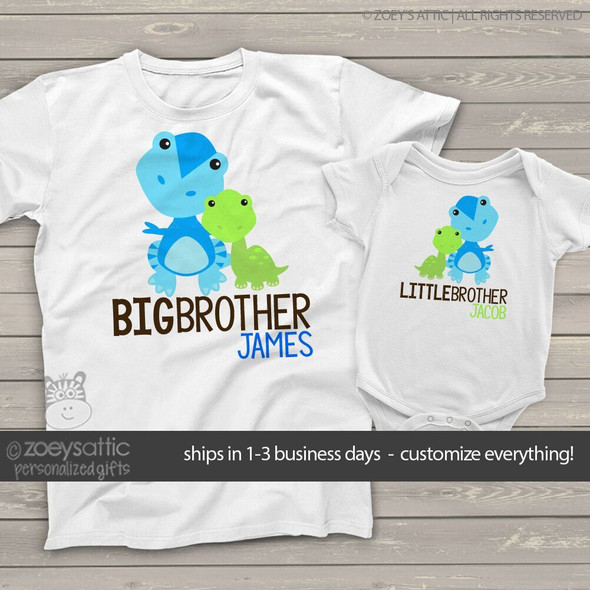 Brother or sister dinosaur sibling Tshirt set