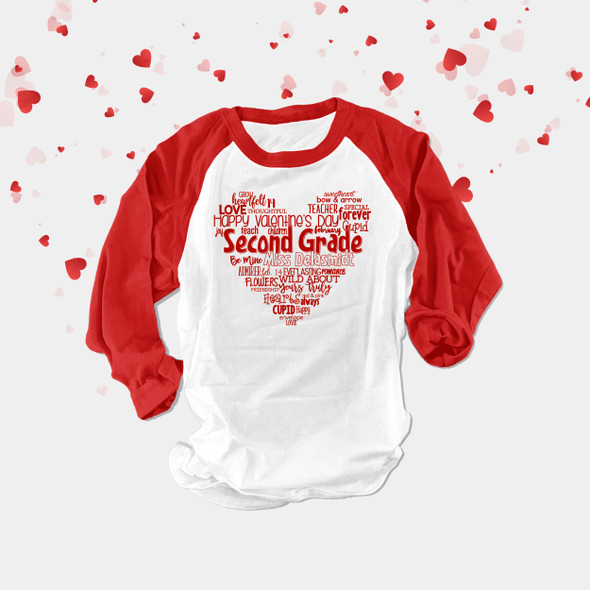 Valentine heart teacher name grade personalized raglan shirt