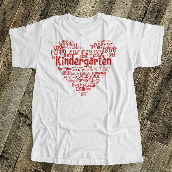 Valentine heart teacher name grade personalized shirt