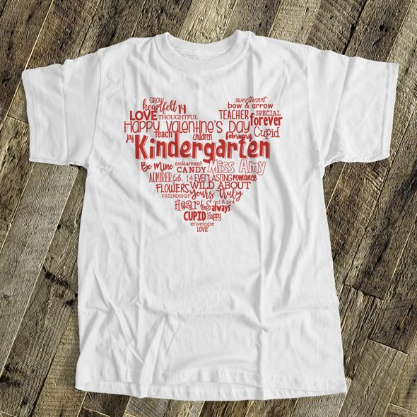 Valentine heart teacher name grade personalized shirt