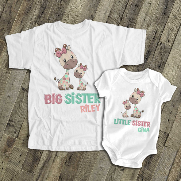 Big sister little sister funky giraffe sibling Tshirt set