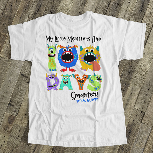 Teacher 100 days smarter monsters Tshirt