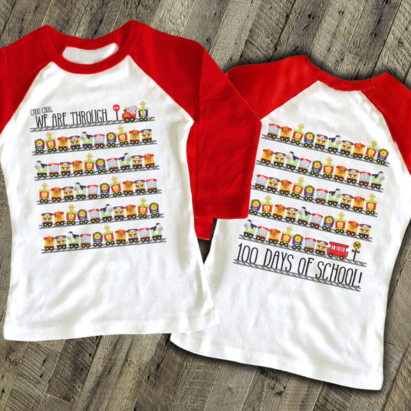 Student 100 days train KIDS raglan shirt