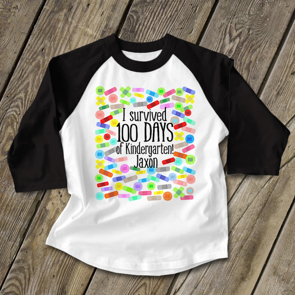 Student survived 100 days band aid KIDS raglan shirt