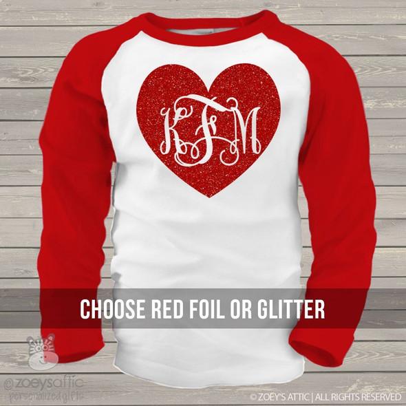 Valentine glitter heart monogram GIRLS raglan shirt