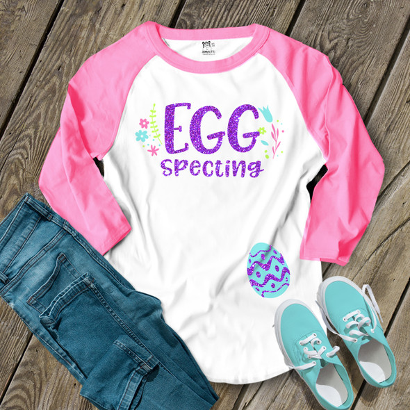 Easter eggspecting glitter NON-MATERNITY unisex adult raglan shirt