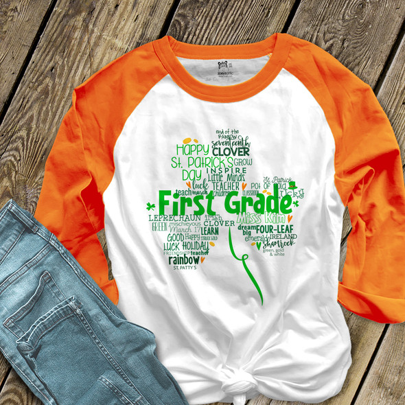 St. Patrick's Day shamrock teacher name grade personalized raglan shirt