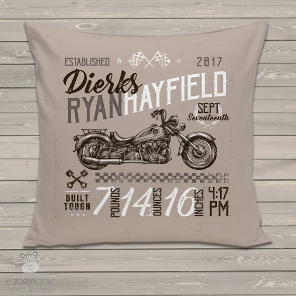 Vintage motorcycle  birth announcement pillow