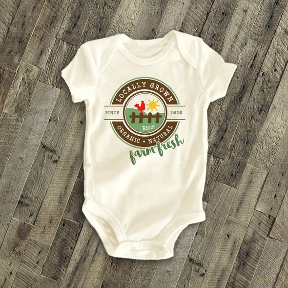 Farm fresh locally grown personalized bodysuit or Tshirt