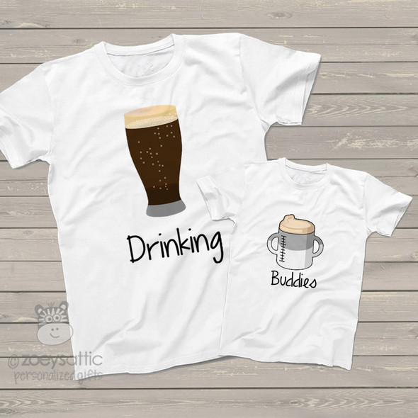Funny dad and kiddo drinking buddies tshirt gift set