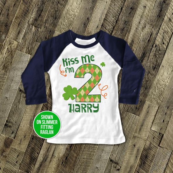 Kiss me Irish boy St. Patrick's birthday raglan shirt