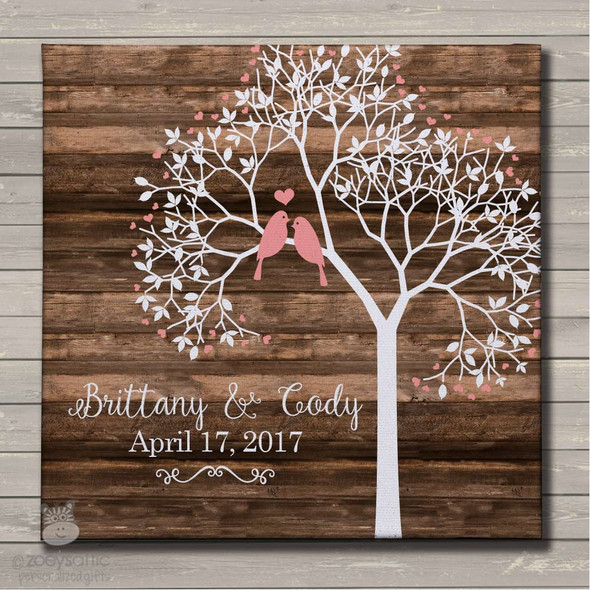 Wedding anniversary tree love birds canvas print wall art