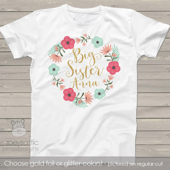 Big sister floral wreath with glitter or foil shirt