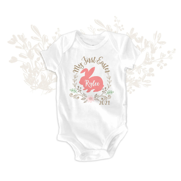 First Easter bunny and wreath bodysuit or tshirt