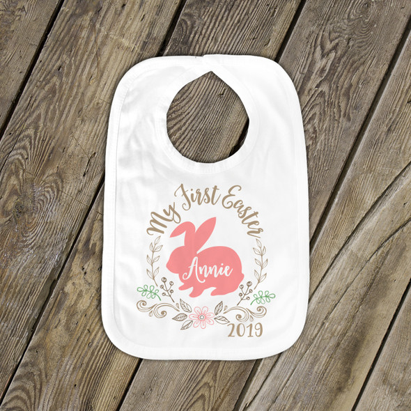 First Easter bunny and wreath personalized bib