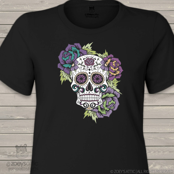 Sugar skull day of the dead DARK shirt