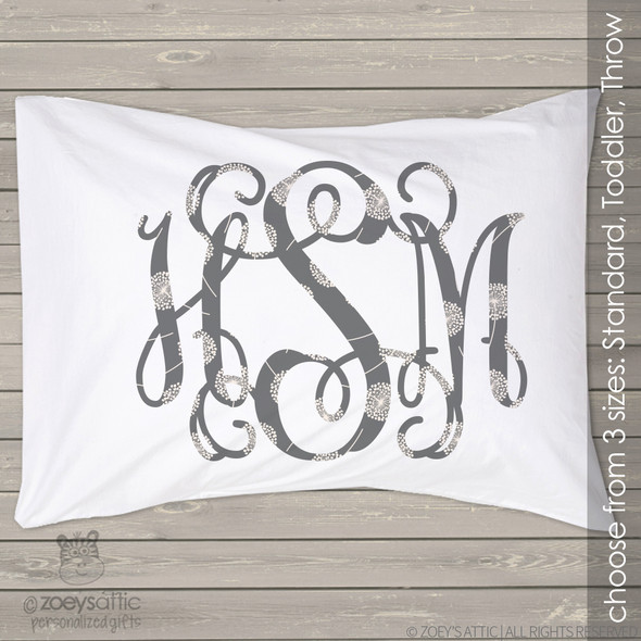 Gray floral monogram personalized pillowcase / pillow