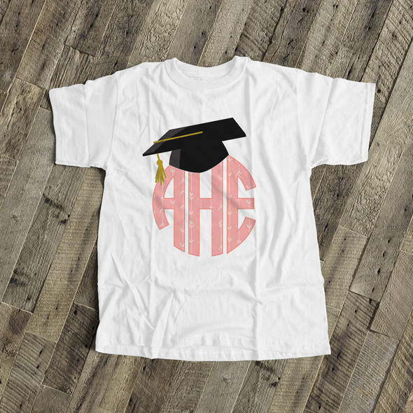 Graduation girl monogram with grad cap Tshirt