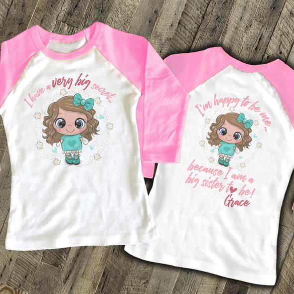 Big sister to be very big secret pregnancy announcement raglan Tshirt