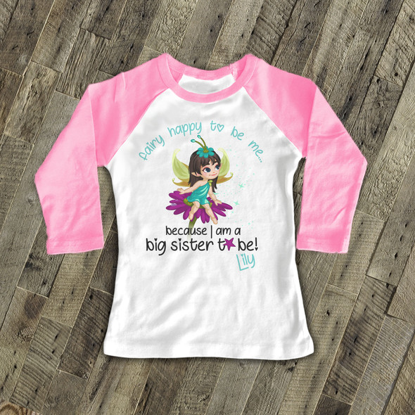 Big sister to be blue fairy happy to be me pregnancy announcement raglan Tshirt