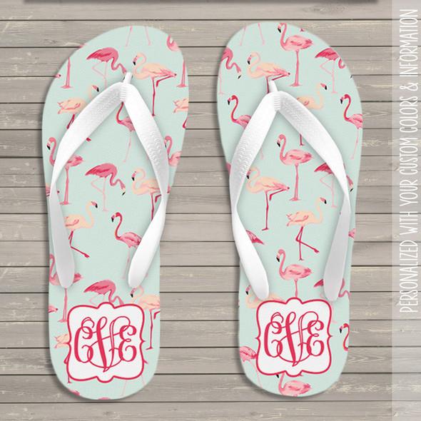 Flamingo monogram flip flops