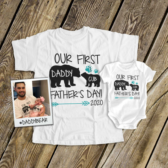 First Fathers Day daddy baby boy bear matching shirt gift set