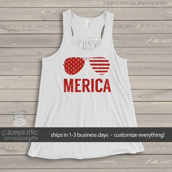 Stars and stripes merica flowy tank top