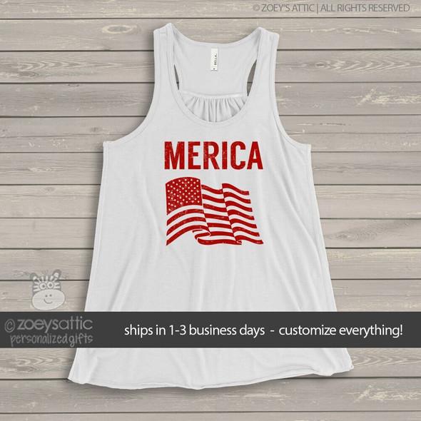 American flag merica flowy tank top
