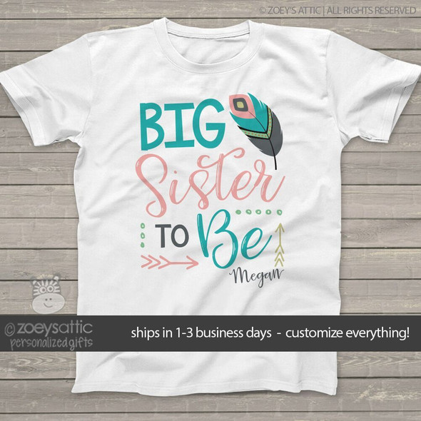 Big sister to be feather shirt