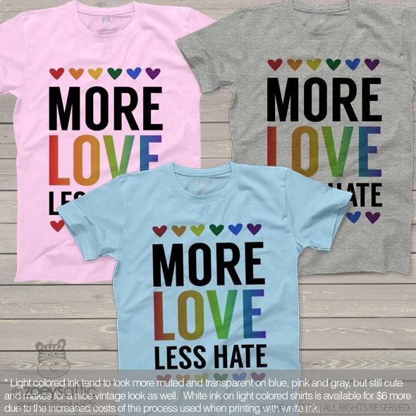 More love less hate rainbow hearts Tshirt