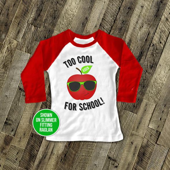Student too cool for school raglan shirt